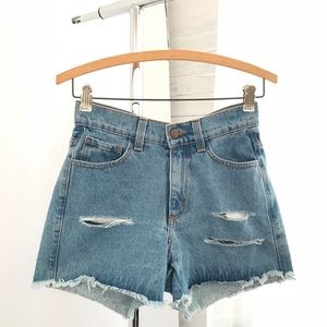 Fashion Nova High Waisted Distressed Denim Shorts